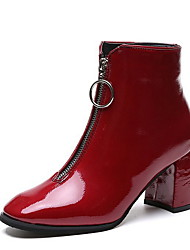 cheap -Women's Boots Chunky Heel Round Toe PU Booties / Ankle Boots Winter Black / Red