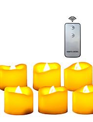 Недорогие -6шт 4 * 4см пластиковые беспламенные светодиодные обету свечи на батарейках электрический чай свет реалистичные мерцающее пламя помахал краем с пультом дистанционного управления и таймер на Рождество