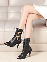 cheap -Women's Dance Shoes Nappa Leather Dance Boots Tassel / Splicing Boots Slim High Heel Black