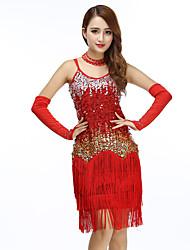 cheap -Women's Flapper Girl Latin Dance Flapper Dress Party Costume Tassel Sequins Sequin Polyster Black Black / Red Fuchsia Dress
