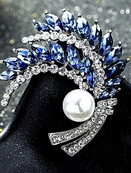 cheap -Women's Cubic Zirconia Brooches Classic Floral Theme Classic Basic Brooch Jewelry White Dark Purple Blue For Party Graduation Gift Daily Festival