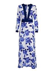 cheap -Women's Maxi Blue Dress Elegant Spring Swing Floral Deep V Flower Floral Fashion S M