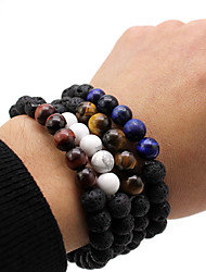 cheap -Men's Black Bead Bracelet Vintage Bracelet Earrings / Bracelet Retro Weave Simple Classic Vintage Trendy Fashion Stone Bracelet Jewelry Black / Brown / White For Daily School Street Holiday Festival