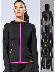cheap -Women's Running Jacket Yoga Top Thumbhole Zipper Pocket Fashion Black Black / Red Grey Black / Green Black / Blue Running Fitness Gym Workout Hoodie Long Sleeve Sport Activewear Windproof Moisture