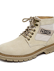 cheap -Men's Fashion Boots Nappa Leather Fall / Fall & Winter Casual Boots Walking Shoes Breathable Booties / Ankle Boots Brown / Khaki
