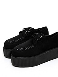 cheap -Women's Flats Creepers Round Toe Suede Fall & Winter Black