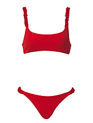 cheap -Women's Basic Red Bandeau Cheeky High Waist Bikini Swimwear - Solid Colored Lace up S M L Red
