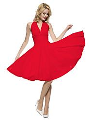 cheap -Latin Dance Dresses Women's Daily Wear / Theme Party Milk Fiber Ruching / Pleats Sleeveless Natural Dress