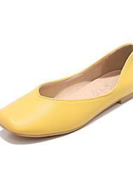 cheap -Women's Flats Low Heel Square Toe PU Casual / British Spring &  Fall Black / Dark Brown / White