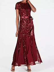 cheap -A-Line Jewel Neck Ankle Length Chiffon / Sequined Dress with Sequin / Appliques / Sash / Ribbon by LAN TING Express