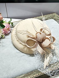 cheap -Feather / Net Fascinators / Hats / Headwear with Feather / Bowknot / Cap 1 Piece Wedding / Special Occasion Headpiece