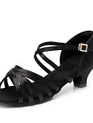 cheap -Girls' Dance Shoes Satin / Faux Leather Latin Shoes / Salsa Shoes Buckle / Crystals Heel Thick Heel Customizable Black / Dark Brown / White