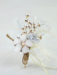 "cheap -Wedding Flowers Boutonnieres Event / Party / Wedding Party Metal / Fabrics 5.91""(Approx.15cm)"