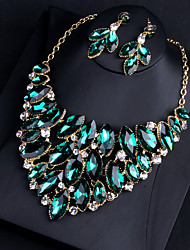 cheap -Women's Clear Blue Red AAA Cubic Zirconia Collar Necklace Chandelier Heart Fashion Elegant Earrings Jewelry Purple / Green For Wedding Engagement Holiday 1 set