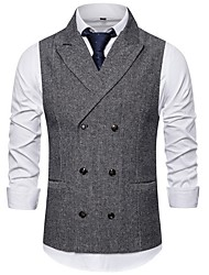 cheap -Men's Vest, Solid Colored Notch Lapel Polyester Light gray / Brown / Dark Gray