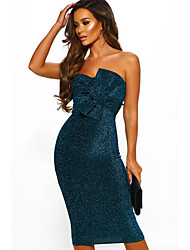 cheap -Women's Daily Wear Basic Sheath Dress - Solid Colored Sequins Blushing Pink Blue Gray S M L XL