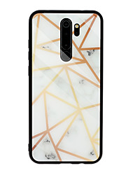 cheap -Case for Xiaomi scene map Redmi Note 8 Note 8 Pro Note 7 Marble pattern diamond-shaped plated tempered glass back plate TPU frame 2-in-1 mobile phone case