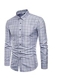 cheap -Men's Plus Size Plaid Shirt White / Blue / Gray / Long Sleeve