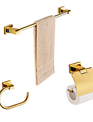 cheap -Solid Brass 3 Piece - Towel bar /Toilet Paper Holders / Towel Rings/ Gold Plated Brass