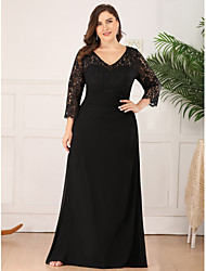 cheap -A-Line V Neck Floor Length Chiffon / Lace 3/4 Length Sleeve Plus Size Mother of the Bride Dress with Lace 2020