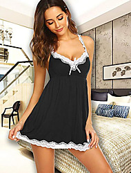 cheap -Women's Lace / Backless Super Sexy Babydoll & Slips Nightwear Solid Colored Black Blue Red S M L / Deep V