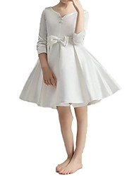 cheap -A-Line Knee Length First Communion Flower Girl Dresses - Polyester 3/4 Length Sleeve V Neck with Bow(s) / Pleats