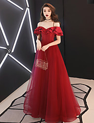 cheap -A-Line Elegant Minimalist Prom Dress Off Shoulder Short Sleeve Floor Length Satin with Ruffles 2020