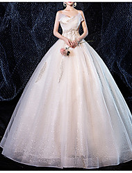 cheap -Ball Gown V Neck Floor Length Lace Strapless Made-To-Measure Wedding Dresses with Appliques / Lace Insert 2020