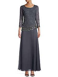 cheap -Sheath / Column Elegant Formal Evening Dress Jewel Neck 3/4 Length Sleeve Ankle Length Chiffon with Sequin 2020