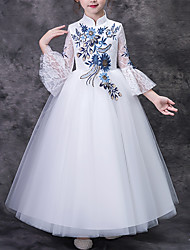cheap -Ball Gown Floor Length Pageant Flower Girl Dresses - Polyester Half Sleeve High Neck with Embroidery / Paillette