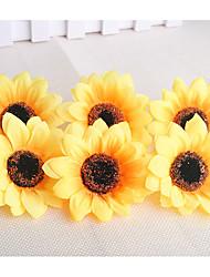 cheap -10 artificial sun flower head handmade silk cloth flower sunflower decoration accessories
