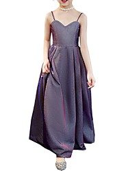 cheap -A-Line Strap Poly&Cotton Blend Junior Bridesmaid Dress with Side Draping