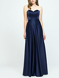 cheap -A-Line Sweetheart Neckline Floor Length Satin Bridesmaid Dress with Pleats