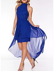 cheap -A-Line High Neck Short / Mini Chiffon Dress with Appliques / Pleats by LAN TING Express