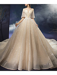 cheap -Ball Gown Scoop Neck Court Train Polyester / Sequined Half Sleeve Wedding Dresses with 2020