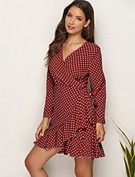 cheap -Women's Elegant A Line Dress - Polka Dot Black Wine Blushing Pink S M L XL