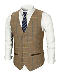 cheap -Men's Work Business / Basic Fall & Winter Regular Vest, Plaid / Solid Colored V Neck Sleeveless Cotton / Polyester Patchwork Brown / Dark Gray / Business Formal / Skinny