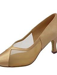 cheap -Women's Dance Shoes Satin / PU Modern Shoes/Character Shoes Paillette Heel Flared Heel Customizable Black / Brown / khaki