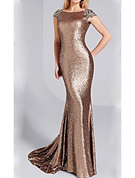 cheap -Sheath / Column Jewel Neck Sweep / Brush Train Sequined Sparkle & Shine Formal Evening Dress with Sequin 2020