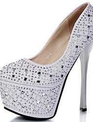 cheap -Women's Heels Stiletto Heel Closed Toe Rhinestone Synthetics Sweet / British Fall / Spring & Summer Black / Silver / Wedding / Party & Evening