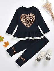 cheap -Kids Toddler Girls' Basic Chinoiserie Daily Wear Festival Leopard Solid Colored Bow Print Long Sleeve Regular Regular Clothing Set Navy Blue