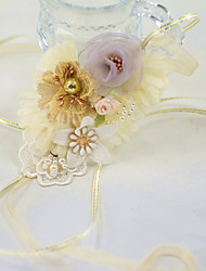 "cheap -Wedding Flowers Wrist Corsages Wedding Party / Birthday Party Organza / Metal / Fabrics 4.33""(Approx.11cm)"
