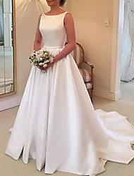 cheap -A-Line Jewel Neck Sweep / Brush Train Stretch Satin Spaghetti Strap Simple Backless / Elegant Wedding Dresses with Draping 2020