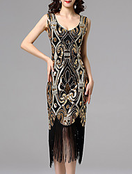 cheap -Women's Date Vacation Vintage 1920s Elegant A Line Sheath Dress - Geometric Color Block Sequins Tassel Fringe Black Blushing Pink Gold S M L XL