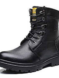 cheap -Men's Combat Boots Leather Winter Boots Black / Brown