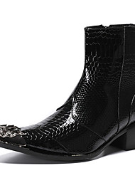 cheap -Men's Fashion Boots Nappa Leather Winter / Fall & Winter Vintage / British Boots Warm Mid-Calf Boots Black / Party & Evening