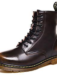 baratos -Homens Sapatos Confortáveis Couro Ecológico Inverno Botas Botas Curtas / Ankle Preto / Marron / Vinho