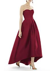 cheap -A-Line Strapless Asymmetrical Satin Elegant Prom / Formal Evening Dress with Sash / Ribbon 2020