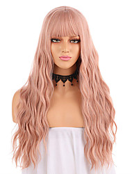 cheap -Synthetic Lace Front Wig Wavy Neat Bang Lace Front Wig Pink Long Orange Synthetic Hair 18-26 inch Women's Adjustable Heat Resistant Party Pink