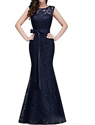 cheap -Mermaid / Trumpet Jewel Neck Floor Length Lace Dress with Bow(s) by LAN TING Express